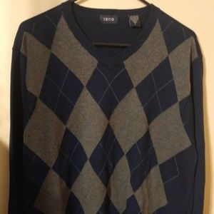 Izod Sweater Navy Blue Argyle Pattern Size Medium